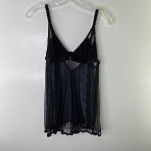 Victoria's Secret Mesh Babydoll Lingerie Black MEDIUM Cami Teddy Nightie Sheer